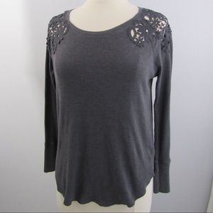 American Eagle Grey Long Sleeve Lace Detail Shirt